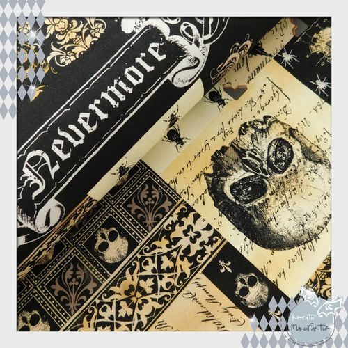 Baumwollstoff Nevermore-Collage