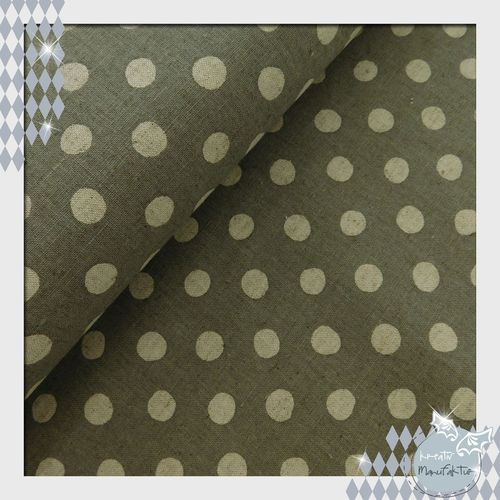 Baumwollstoff Canvas Natural Dots grau