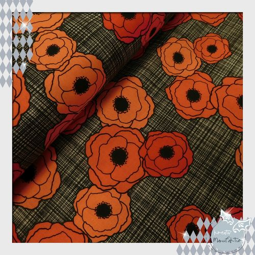 Baumwollstoff Stacked Poppies rot Linie: Poppies in Bloom