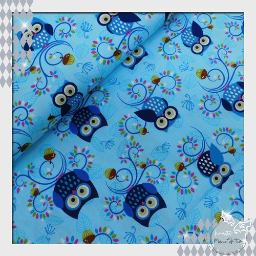 Baumwollstoff Little Happy Hooters blau Linie: Fantasie Woods